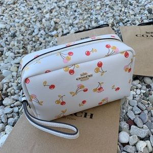 NWT Authentic Coach Cherry Print Cosmetic Wristlet